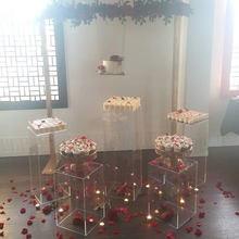 New style Party Wedding Round Acrylic Pedestal Display Cake Transparent Cylinder Clear Acrylic Pedestal Table for wedding stage