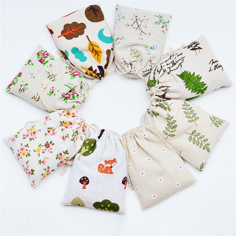 Random Colors!Printed Cotton And Linen Bundle Pocket Ornaments Jewelry Bag Drawstring Text Play Sachet Sachet Empty Bag