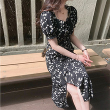 French minority retro floral dress with square collar and slim waist