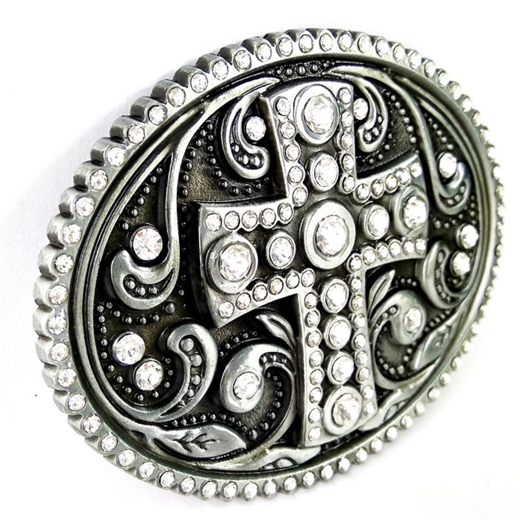 Novelty Cross Pattern Belt Buckle Crystal Western American Men's Accessories