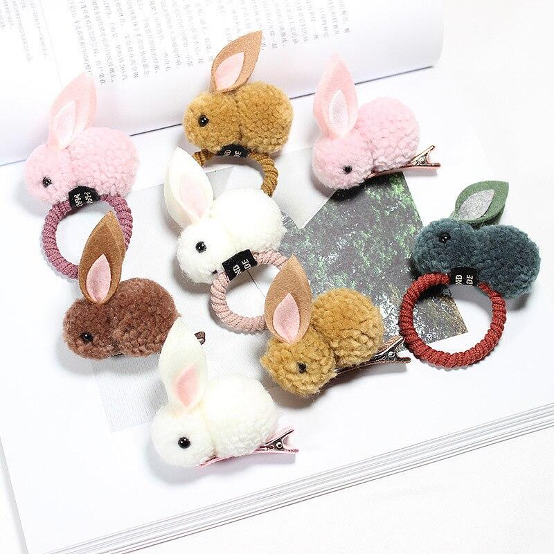 Fashion Cute Ball Rabbit Hair Ring Female Tie Rope Korean Elastic Rubber Hair Bands Bunny Hair Clip Children's Hair Accessories