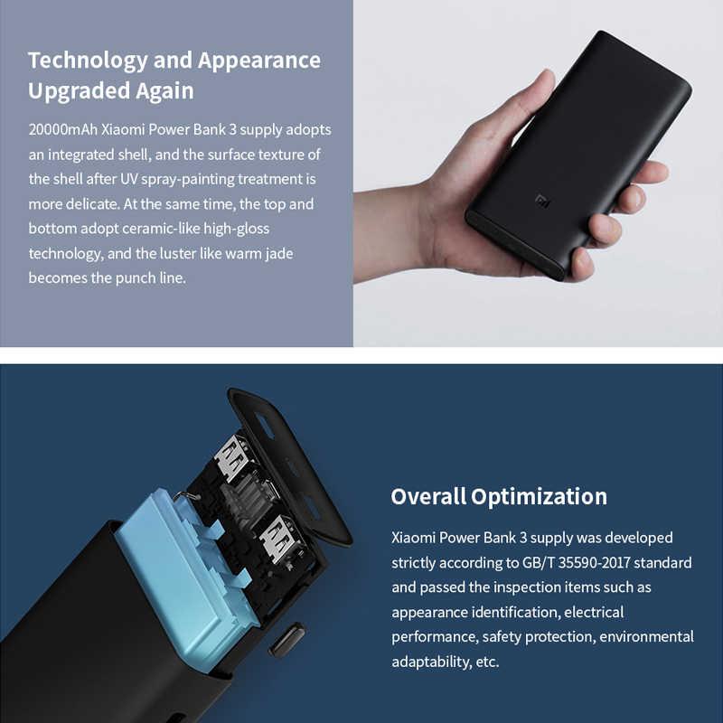 الأصلي شاومي قوة البنك 3 20000 مللي أمبير Mi Powerbank USB-C 45 واط المحمولة شاحن المزدوج USB Powerbank لأجهزة الكمبيوتر المحمول الهاتف الذكي PLM07ZM