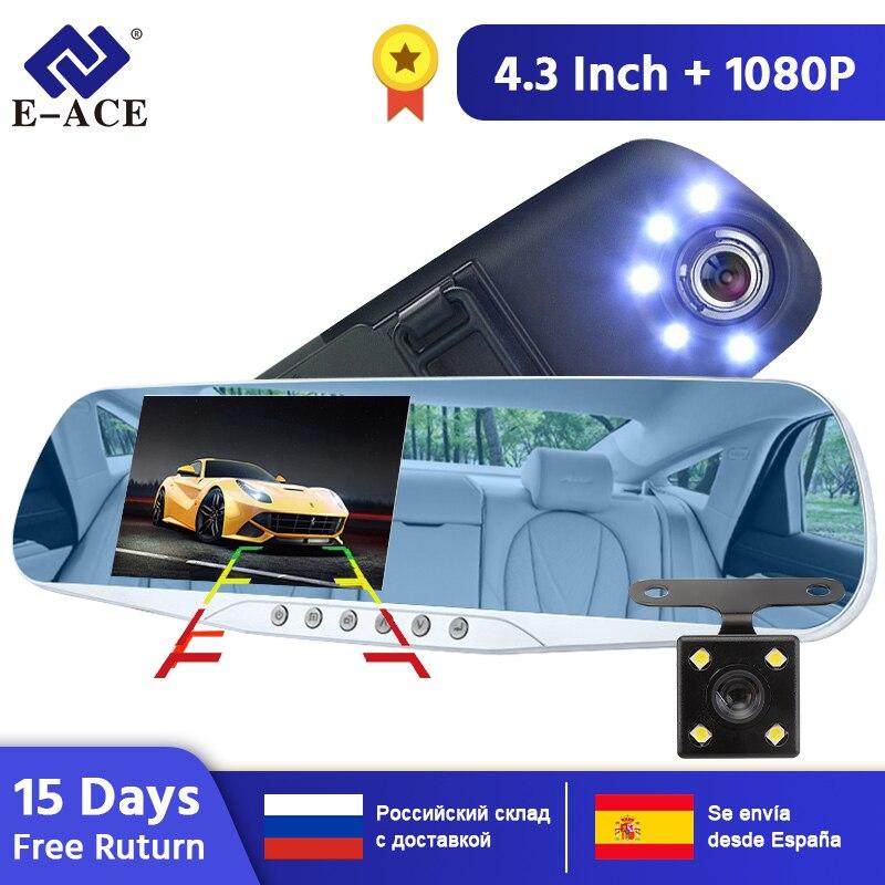 E-ACE voiture caméra rétroviseur DVR double lentille enregistreur vidéo numérique enregistreur automatique 5 Led lumières Vision nocturne Full HD 1080P