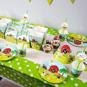 Image 2 - Meninos crianças fazenda tema animal toalha de mesa capa festa de aniversário utensílios de mesa balão caixa de doces placa de bandeira copo fontes de festa