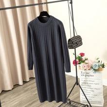 GIGOGOU-Vestido largo de punto con cuello redondo para mujer, Túnica gruesa y cálida, tipo jersey, cuello redondo