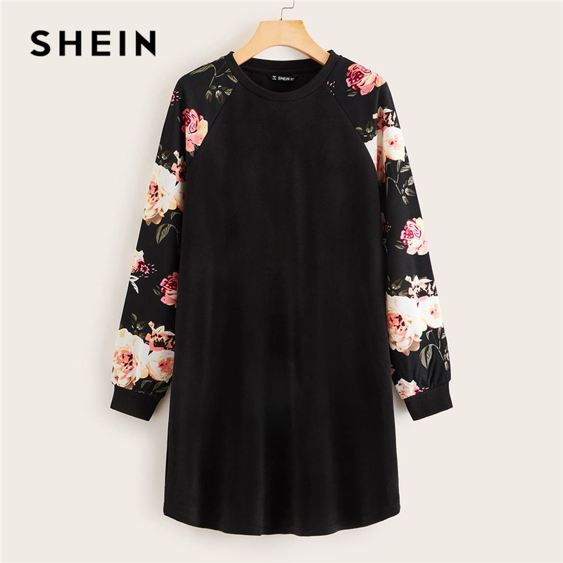 SHEIN Black Floral Raglan Sleeve T-shirt Dress Women Spring Autumn Long Sleeve Round Neck Casual Loose Straight Short Dresses