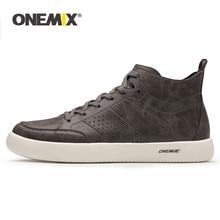 ONEMIX Men's Leather Skateboard Shoes Lightweight Sneakers High top For Walking Jogging Sport Shoes Casual Lightweight Sneakers