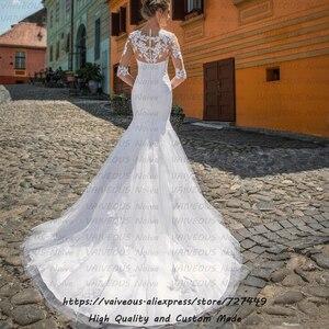 Image 2 - Vestido novia trem longo vestido de noiva boêmio vestidos de casamento com mangas romântico renda sereia vestido de casamento 2020 robe mariage
