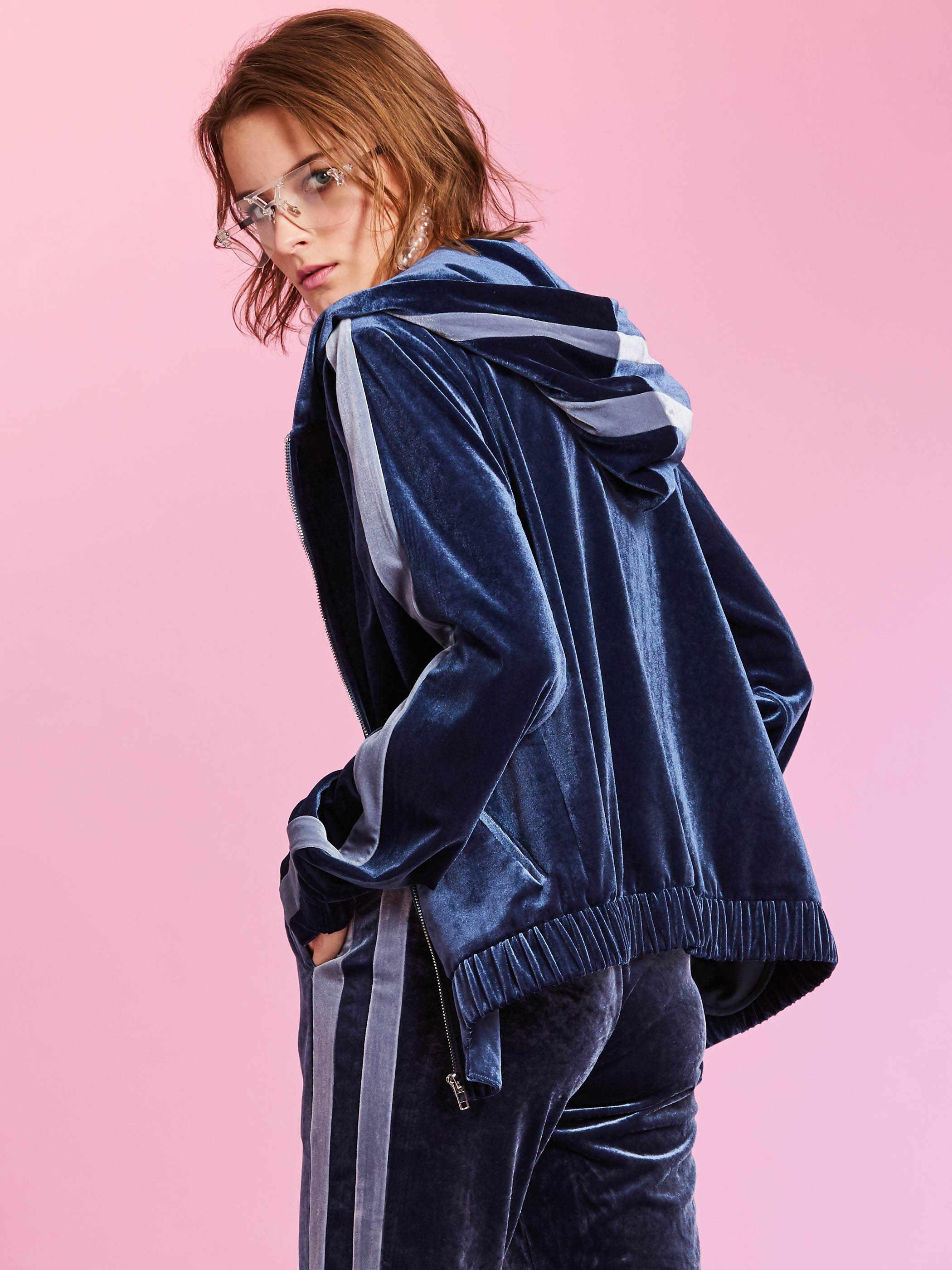 Loose Hooded Jacket Women Autumn Dark Blue Plain Zipper Patchwork Thin Hoody Sweatshirt Casual Long Sleeves Streetwear Outwear