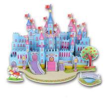 3D Wooden Puzzle Blue Castle Buliding DIY Educational Toy for Kids Children