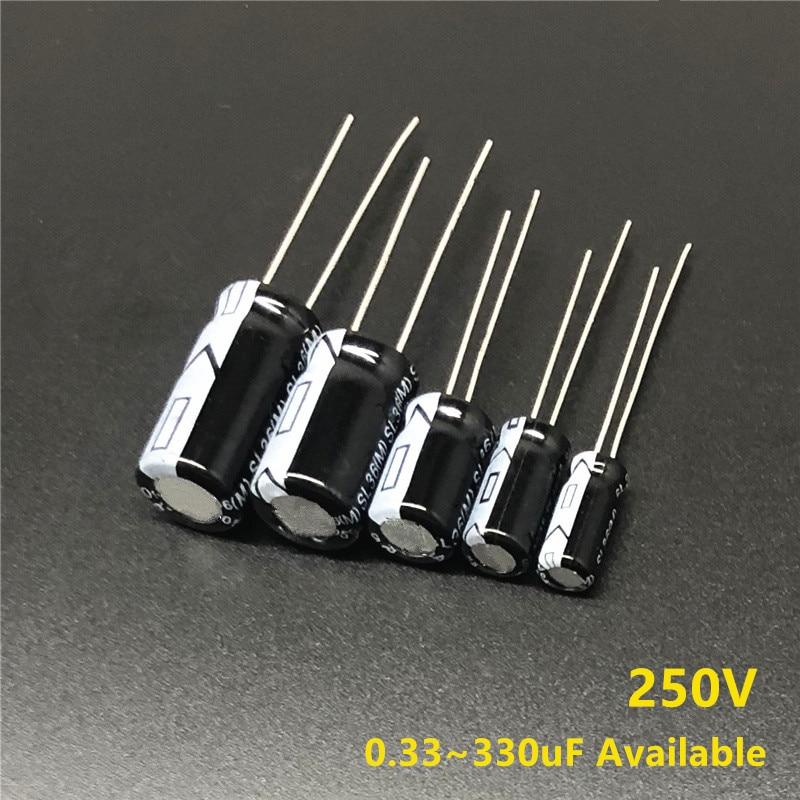 250V 0,33 мкФ/1 мкФ/2,2 мкФ/3,3 мкФ/4,7 мкФ/10 мкФ/18 мкФ/22 мкФ/33 мкФ/47 мкФ/56 мкФ/68 мкФ/180 мкФ/220 мкФ/330 мкФ алюминиевый электролитический конденсатор