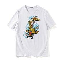 Koi Fish Off White tshirt Men Short Sleeve Animal Print Cotton Casual Fashion Top Tee Hip-Hop Summer Harajuku Streetwear