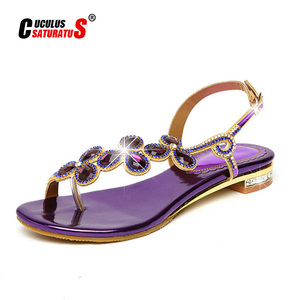Image 1 - Cuculus 2020 New Bohemian Women Sandals Crystal Sandalias Rhinestone Chain Women Shoes Thong Flip Flops Zapatos Mujer PD21