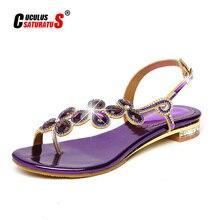 Cuculus 2020 yeni Bohemian kadın sandalet kristal Sandalias suni elmas zincir kadın ayakkabı tanga Flip flop Zapatos Mujer PD21