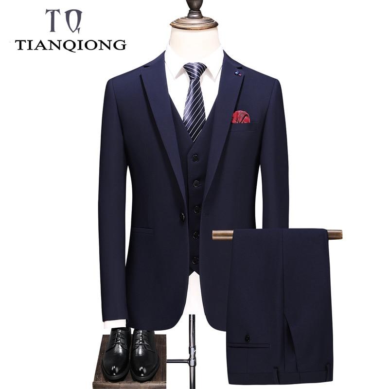 Brand Men Suit 2019 Latest Coat Pant Waistcoat Designs Slim Fit Men's Suits Formal Gray Blue Black Groom Wedding Suits For Men