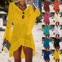 2019 Beach Cover Up Crochet Rajutan Rumbai Dasi Pakaian Renang Tunik Panjang Pareos Musim Panas Baju Renang Cover Up Sexy See-Through gaun Pantai(China)