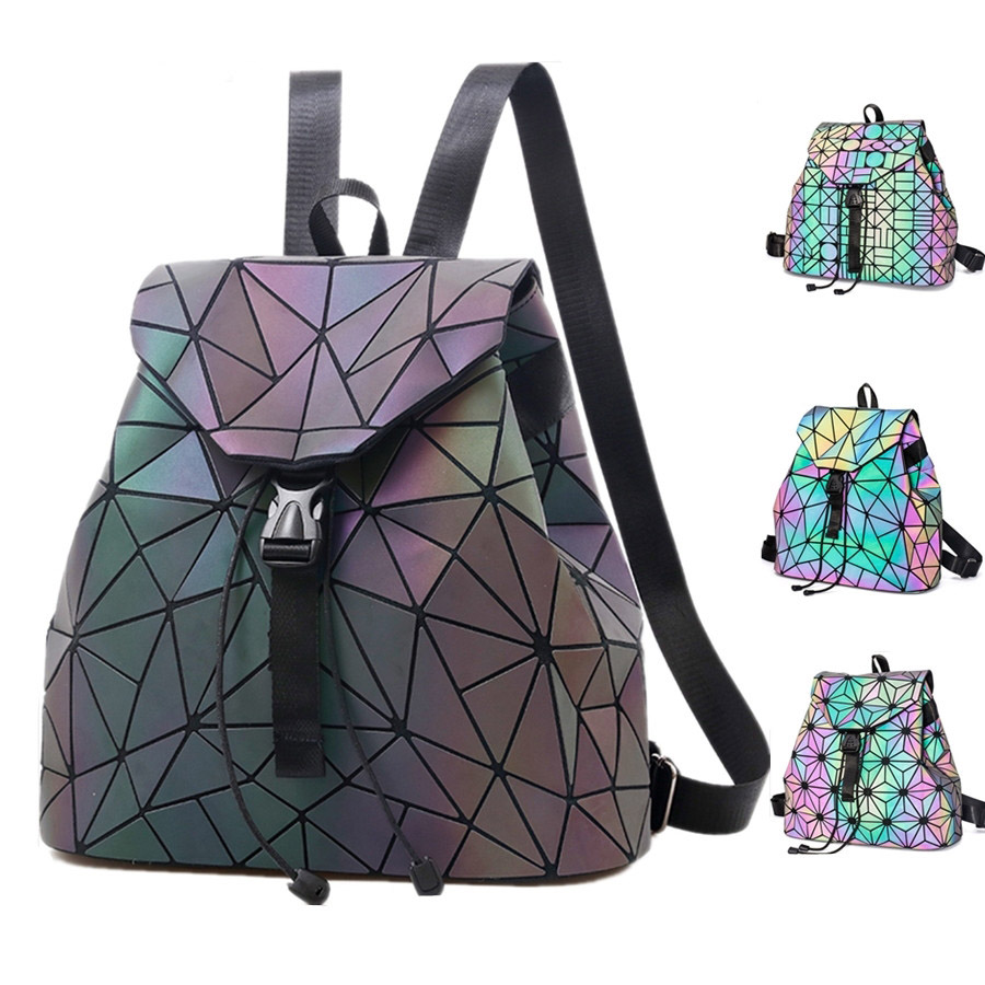 BELLELIFE 3 Style Laser Luminous Backpack for Teenager Discolor Geometric Hologram Backpacks Women Fold Student School Bags