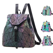 BELLELIFE 3 Style Laser Luminous Backpack for Teenager Discolor Geometric Hologram Backpacks Women Fold Student School Bags