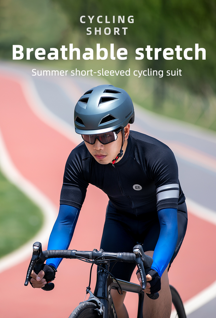 ROCKBROS Summer Cycling Jersey Set Men Women Shorts T-shirt MTB Road Bike Breathable Cycling Clothes Bicycle Equipment Black