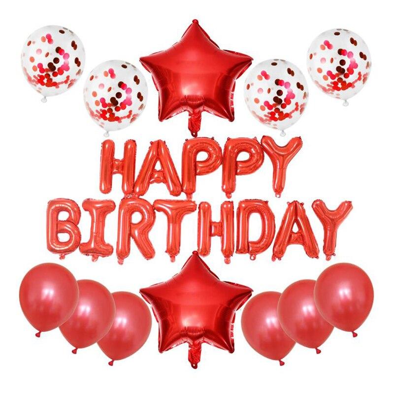 1 комплект, 16 дюймов, фольгированные буквы «С Днем Рождения», шары 12 дюймов, конфетти из красного золота, латексные шары, украшения для дней р...