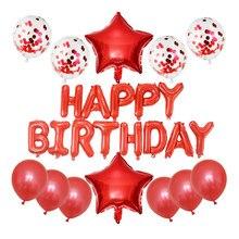 Conjunto 1 16 polegada Carta Feliz Aniversário Balões Folha 12 polegada vermelho confete de ouro bolas de látex de Aniversário Decorações Do Partido crianças globos de ar