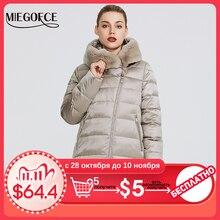 MIEGOFCE 2019 Зимняя женская коллекция женская теплая куртка и ощущение легкости куртка женская зима ветрозащитный стоячий воротник с капюшоном и кроличьим мехом кривая молния что придает этой модели особенный стиль