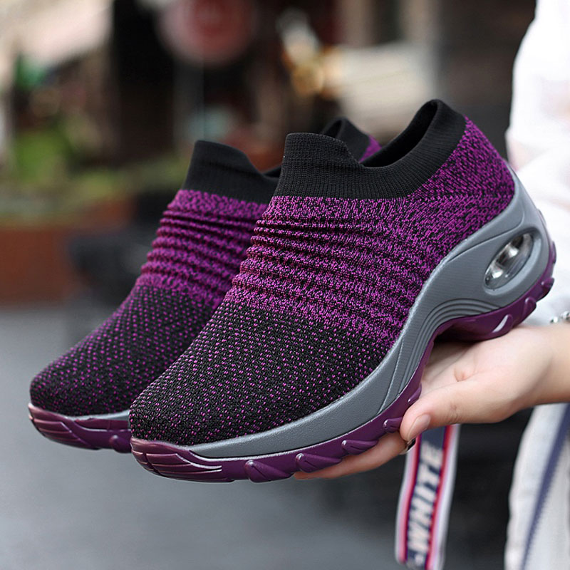 Women Sneakers Casual Shoes  2019 New Breathable Mesh Woman Shoes Convenient Slip-on Air Cushion Tenis Feminino