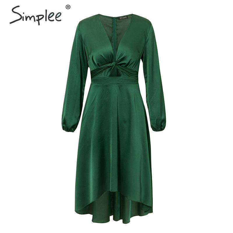 Simplee Sexy v-neck women party dress Elegant high waist lantern satin dress Office lady chic a-line autumn winter green dress 7