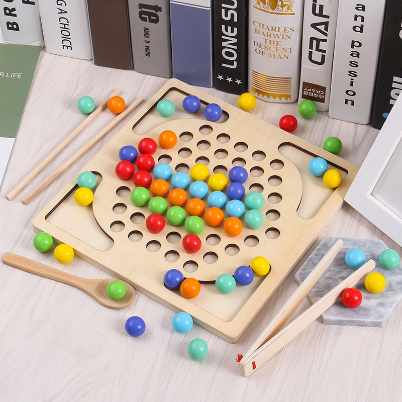 JaheerToy perle découpage et jeu de pêche en bois éducation jouets pour enfants garçons filles enfants cadeau Montessori couleur