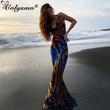 Женское длинное платье с низким вырезом воротником хомутом и