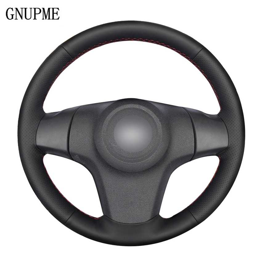 DIY Black Artificial Leather Car Steering Wheel Cover for Chevrolet Niva 2009-2017 (3-Spoke) Vauxhall Corsa (D) Opel Corsa (D)