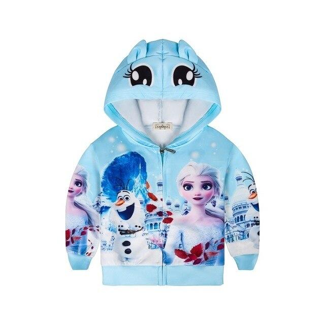 אופנה Elsa אנה מעיל חורף קריקטורה נים בגדי בנות מעילי ברדס רוכסן מעיל תינוק עבור בנות מעיל
