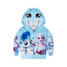 Moda elsa anna casaco de inverno dos desenhos animados hoodies jaqueta crianças roupas meninas jaquetas com capuz com zíper casaco do bebê para meninas jaqueta