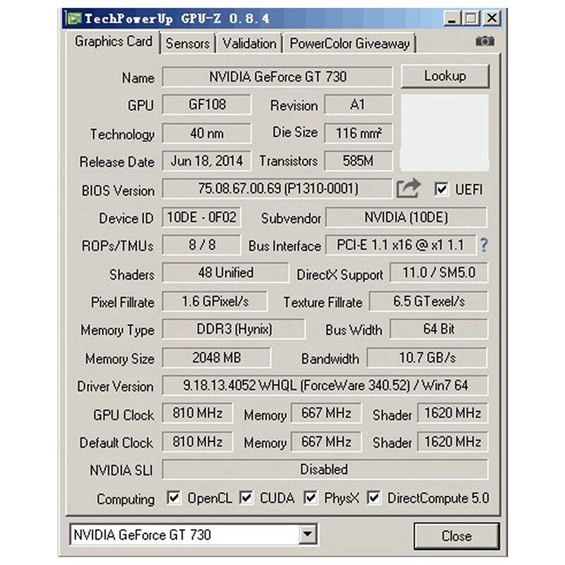 GT730 ie Card 64Bit GDDR3 GT 730 D3 Game Video Cards GeforceHDMI Dvi VGA Video Card 4