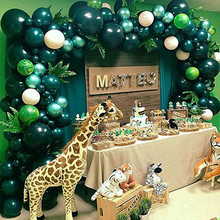 143pcs Green Balloons Arch Safari Jungle Theme Party Baloon Kids Birthday Animal Balloons Garland Baby Shower Party Decor jungle party green latex balloons woodland animal palm leaf foil balloons safari party baloons birthday party decor baby shower