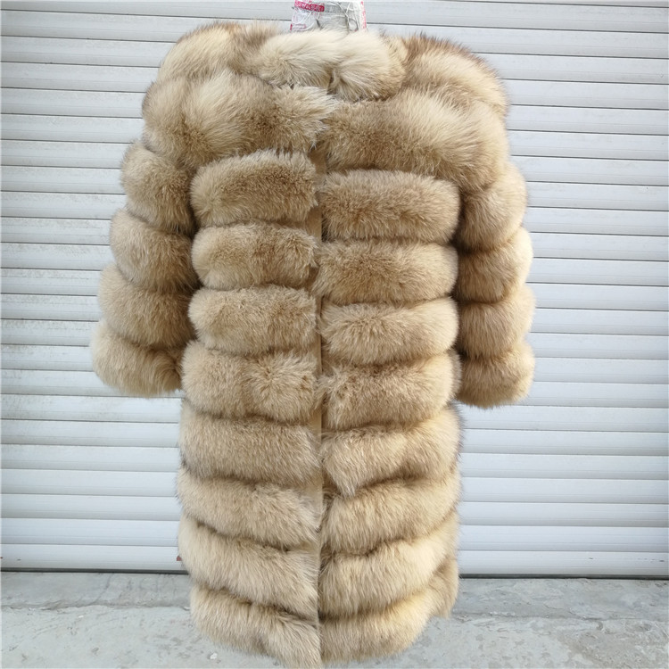 100% Natural Real Fox Fur Coat Women Winter Genuine Vest Waistcoat Thick Warm Long Jacket With Sleeve Outwear Overcoat plus size 51