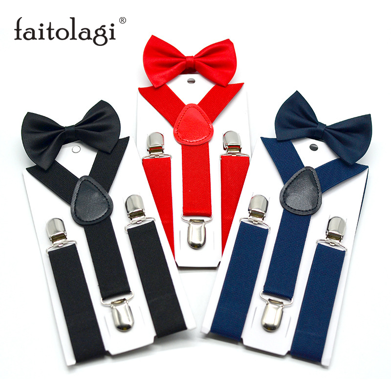 Adjustable Elastic Kids Suspenders With Bowtie Fashion Boys Girls Bow Tie Set Braces Suspenders Baby Wedding Trousers Shirt Stay