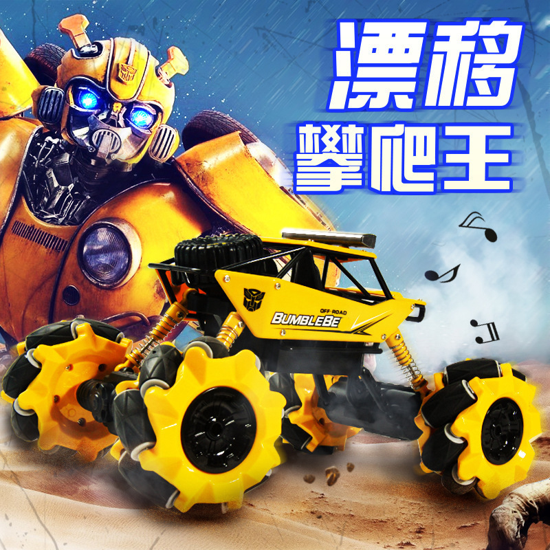 1:16 2.4G RC Car with Mecanum Wheel 4WD Drift Climbing Remote Control Stunt Car dancing led music Offroad bumblebees Vehicle Toy image