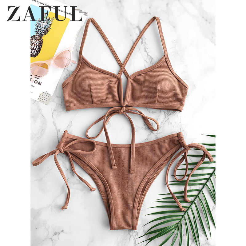 ZAFUL Ribbed V Cut Cami Bikini Sexy Pink Bikini Padded Frilly High Leg Cut Biquinis Swimsuit Swimwear Beach Frill Bathing Suits
