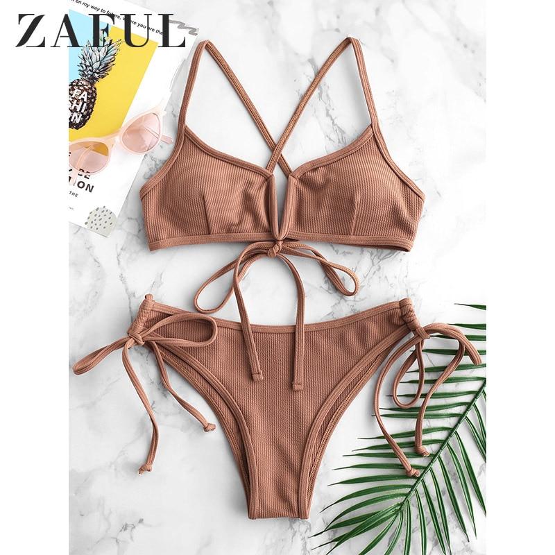 ZAFUL Ribbed V Cut Cami Bikini Sexy Pink Bikini Padded Frilly High Leg Cut Biquinis Swimsuit Swimwear Beach Frill Bathing Suits