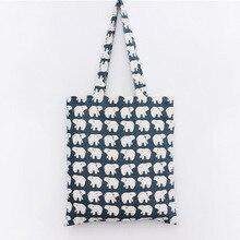 Blue Big White Bear Printed Cotton Shopping Bag Cotton and Linen Fresh Shoulder Bag Creative Storage Large Capacity Handbag