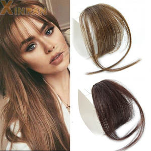XINRAN Clip In Hair Bangs Hairpiece Synthetic Fake Bang Hair Piece Clip In Hair Extension Air Bangs Clip on Bangs Black Brown(China)