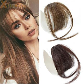 XINRAN włosy Clip In Bangs Hairpiece syntetyczny fałszywy Bang włosy włosy Clip In do przedłużania włosów Air Bangs Clip on Bangs Black Brown tanie i dobre opinie Wysokiej Temperatury Włókna 1 sztuka tylko Clip-in Pure color Blunt bangs