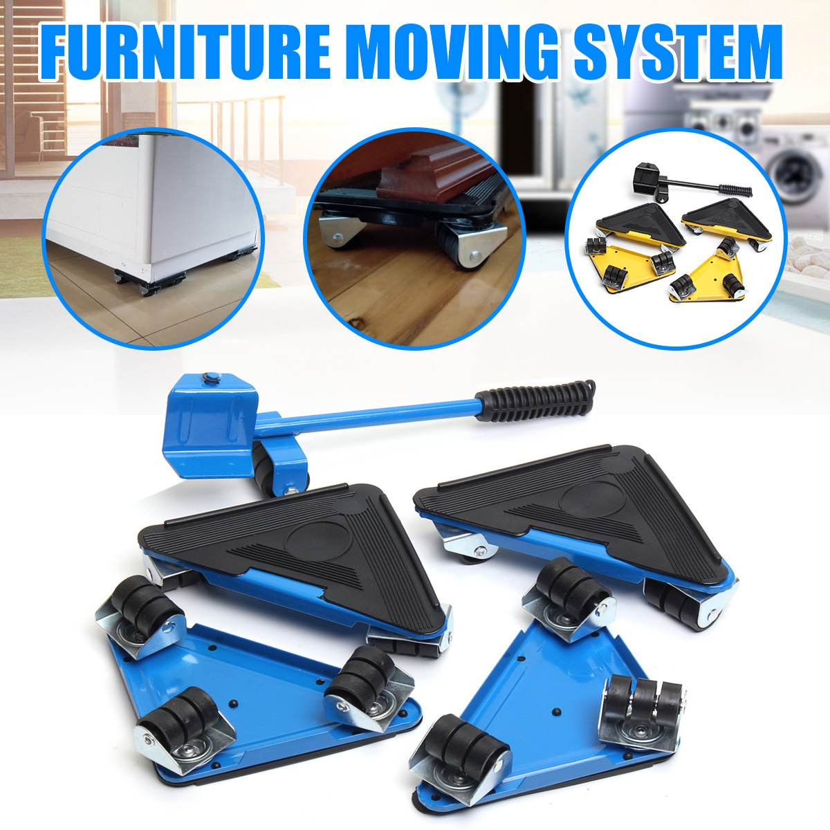 5PCS Furniture Lifter Triple 4 Mover Roller + 1 Wheel Bar Transport Set Furniture Mover Sliders Heavy Hand Tool Set