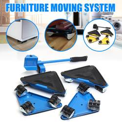 5PCS Furniture Lifter Triple 4 Mover Roller  1 Wheel Bar Transport Set Furniture Mover Sliders Heavy Hand Tool Set