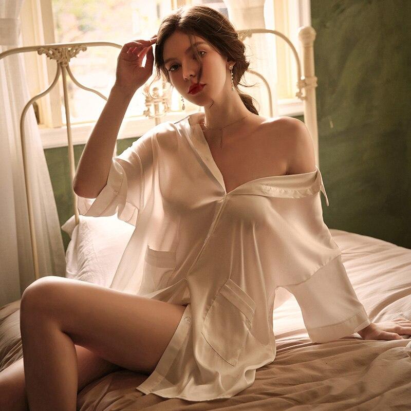 White mid-sleeve Sleep dress high quality imitation silk couple shirt pocket short perspective sexy nightdress one size