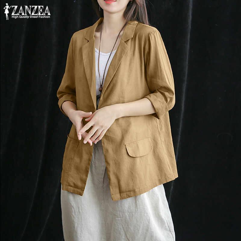 ZANZEA 2019 женские блейзеры стильные одноцветные пальто на пуговице Мода 3/4 рукав хлопок внешнее женские куртки плюс размер Топ Туника 5XL