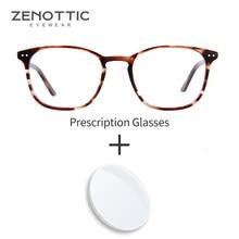 ZENOTTIC Retro Prescription Glasses Women Men Acetate Myopia Optical Eyeglasses Frame Photochromic Anti-Blue-Ray Eye Glasses