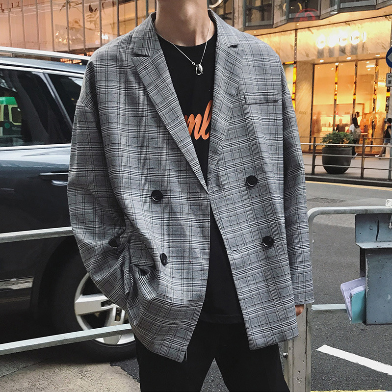 Korean Style CHIC Autumn New Style Elegant Plaid Small Suit Coat BOY'S Oversize Loose Leisure Suit