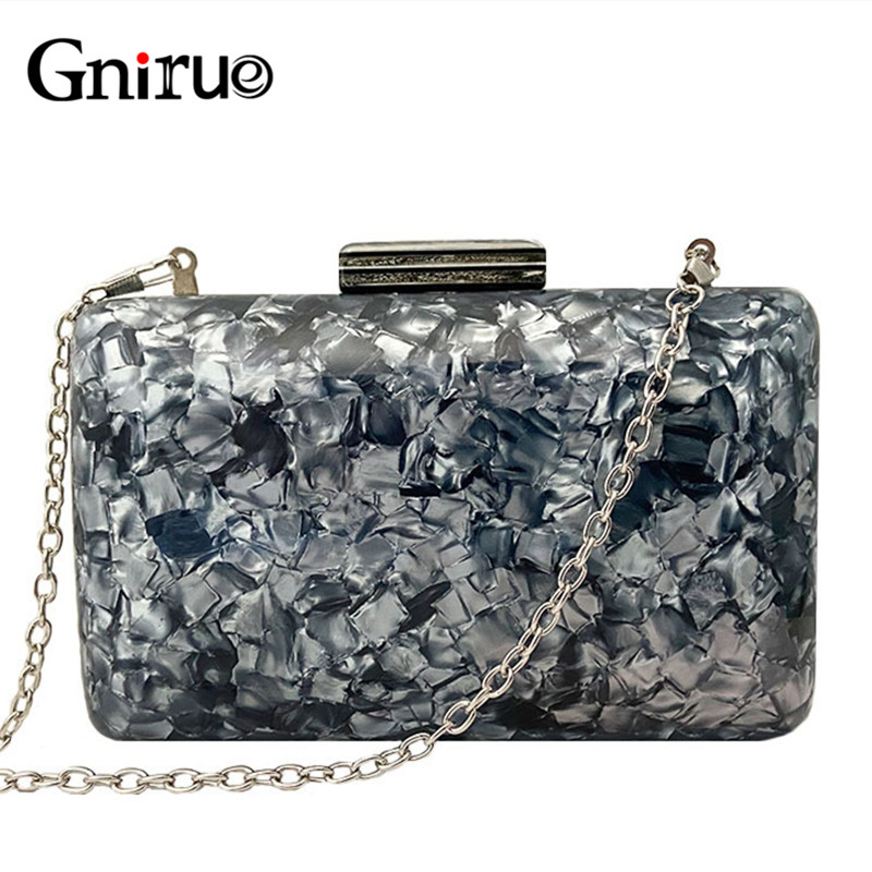 New Fashion Acrylic Bags Shell Evening Clutches Pearlescent Women Shoulder Bag Ladies Box Party Prom Wedding Handbags Purses